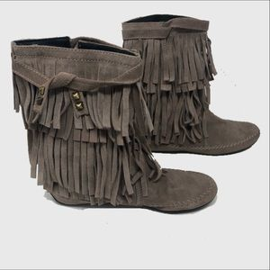 Juicy couture Suede fringe ankle booties